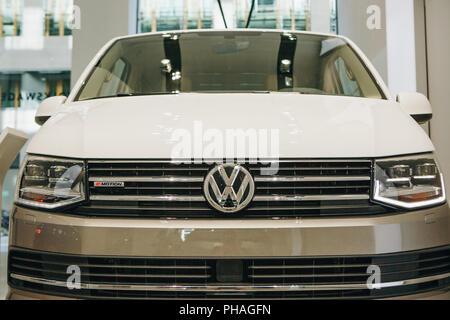 Berlin, August 29, 2018: Close-up new Volkswagen multivan presented at the official Auto Show Drive - Volkswagen Group Forum in Berlin. - Stock Photo