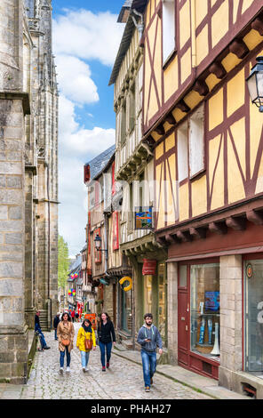 Historic half-timbered houses on Rue Saint-Guenhaël in the old town, Vannes, Brittany, France - Stock Photo