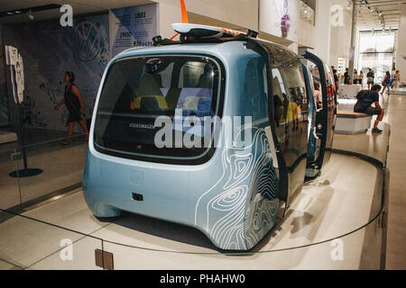 Berlin, August 29, 2018: Auto show DRIVE - Volkswagen group forum. A new concept of driverless car from Volkswagen. The name of the car model is Sedric. Transport of the future - Stock Photo