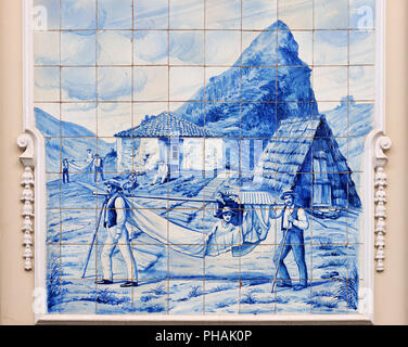 Traditional blue tiles (Azulejos) in Funchal. Madeira, Portugal - Stock Photo