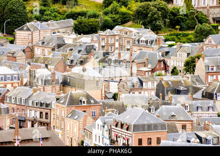Falaise d'Amont Etretat City Normandy France Europe - Stock Photo