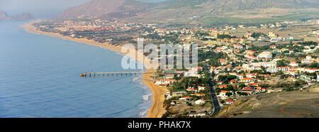 Vila Baleira, capital city of Porto Santo island. Madeira, Portugal - Stock Photo