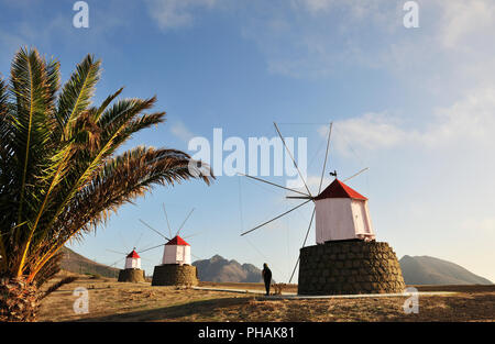 Traditional windmills of Porto Santo island. Madeira, Portugal - Stock Photo
