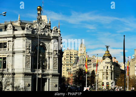 Architecture in Madrid with the Metropolis building seen from Plaza de Cibeles, Madrid. Spain - Stock Photo