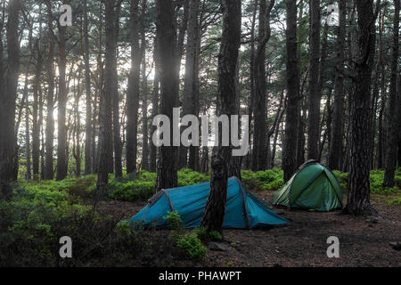 Tents in the Palatinate Forest, Germany - Stock Photo