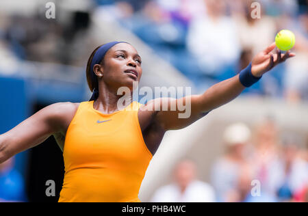 New York, New York, USA. 31st Aug, 2018. Sloane Stephens of the United States in action during her third-round match at the 2018 US Open Grand Slam tennis tournament. Credit: AFP7/ZUMA Wire/Alamy Live News - Stock Photo