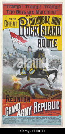 ... The Great Rock Island route to the reunion of the Grand Army of the Republic... ca. 1888 - Stock Photo