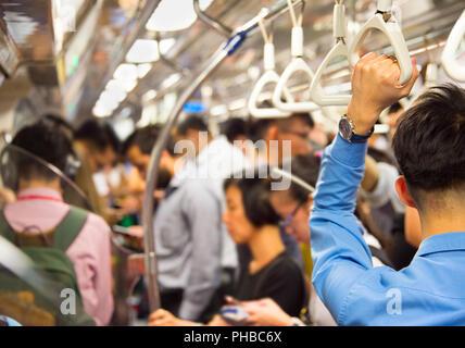 Singapore subway train - Stock Photo