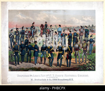 Uniforms of the Army, Navy and N.Y. State National Guards ca. 1870 - Stock Photo