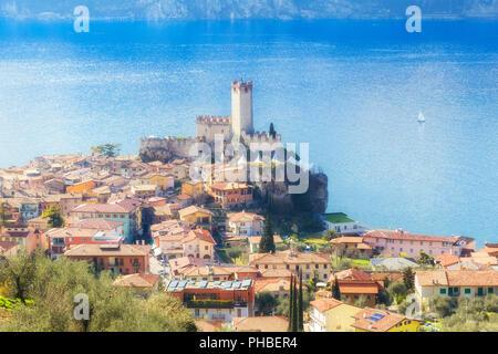 Village from above, Malcesine, Lake Garda, Verona Province, Veneto, Italian Lakes, Italy, Europe - Stock Photo