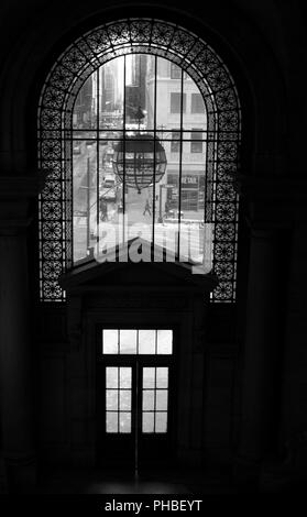 Entrance to the New York Public Library shot from inside out - Stock Photo