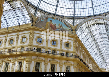 Architectural detail inside glass dome mall, Galleria Vittorio Emanuele II at Piazza del Duomo, Milan, Lombardy, Italy, Europe - Stock Photo