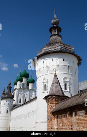 Towers and Kremlin Wall, Rostov Veliky, Golden Ring, Yaroslavl Oblast, Russia, Europe - Stock Photo