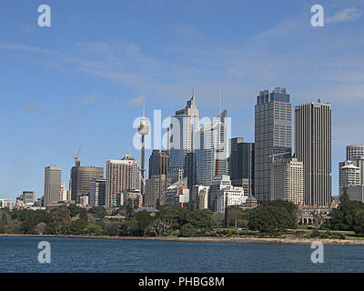 Central business district, Sydney Tower and the Royal Botanic Gardens from the Manly ferry, Sydney Harbour, NSW, Australia - Stock Photo