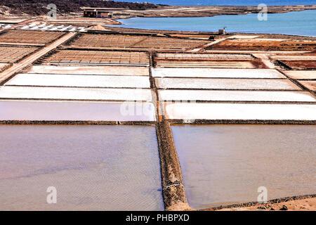 Lanzarote saltworks salinas de Janubio colorful Canary Islands - Stock Photo