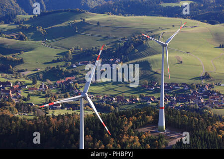 Gersbach, wind turbines in the wind park Rohrenkopf - Stock Photo
