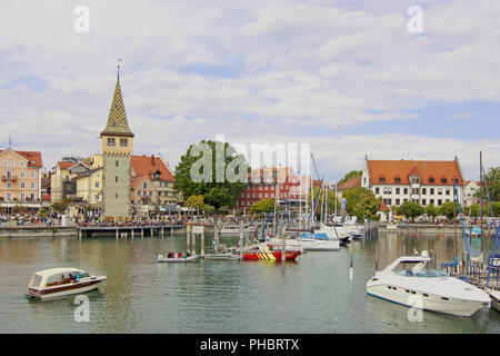 Lindauer port with Mangturm - Stock Photo