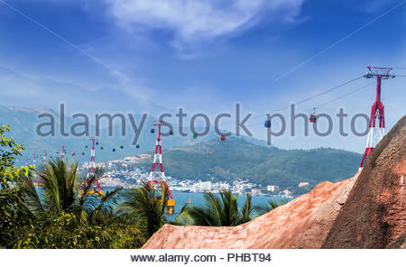 Transportation cable Vinpearl Park, Nha Trang, Vietnam. - Stock Photo