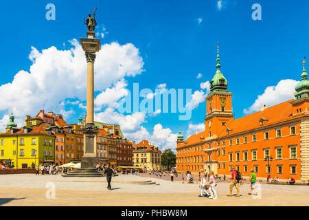Sigismund's Column and Royal Castle in Plac Zamkowy (Castle Square), Old Town, UNESCO World Heritage Site, Warsaw, Poland, Europe - Stock Photo