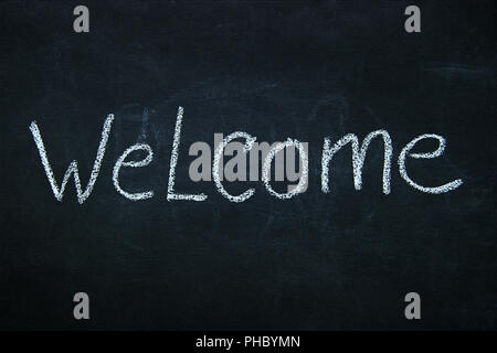 Word written in chalk on blackboard - Stock Photo