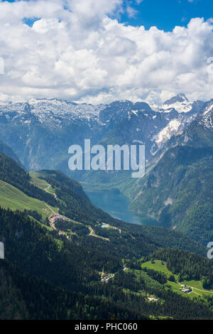 View over the Bavarian Alps and Koenigssee from Kehlsteinhaus (Eagle Nest), Berchtesgaden, Bavaria, Germany, Europe - Stock Photo