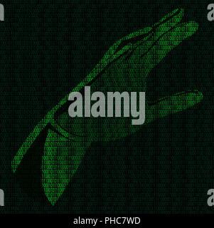 Hand of binary code - Stock Photo