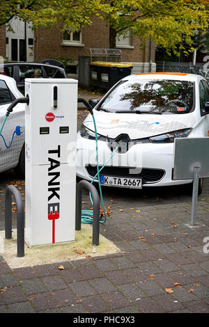 Charging station for electric cars in the city center of Cologne
