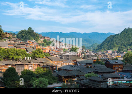 Qian Hu Miao Zhai Daytime Village Landscape, Ancient Chinese Cultural Location - Stock Photo