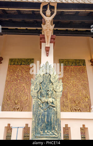 Phnom Penh, Cambodia - April 8, 2018: The main pagoda of Wat Phnom (Mountain Pagoda), the central point of Phnom Penh, decorated with  ornate bas-reli - Stock Photo