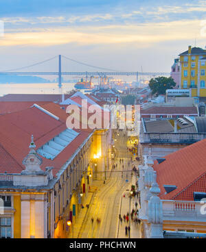 Lisbon street aerial view, Portugal - Stock Photo