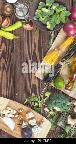 Organic food on wooden background - Stock Photo