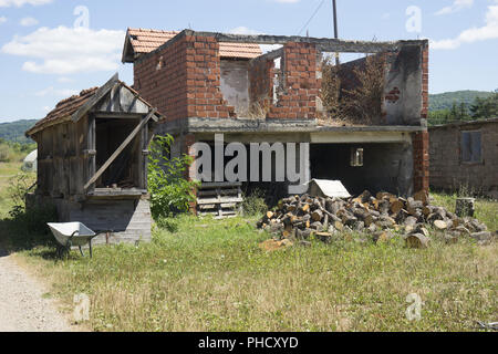 Destroyed House from the Bosnian War, Bosnia - Stock Photo
