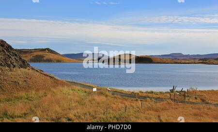 Lake Myvatn in late summer, Iceland. - Stock Photo