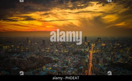 Tokyo sunset aerial panoramic view - Stock Photo