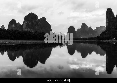 The morning sunrise over li river - Stock Photo