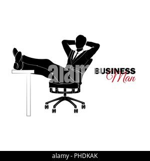 Businessman, Manager. A man in a business suit. Businessman sitting in a chair and folded his legs on a table - Stock Photo