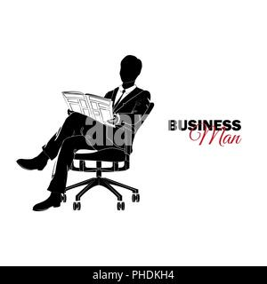 Businessman, Manager. A man in a business suit. Businessman sitting in a chair reading a newspaper - Stock Photo
