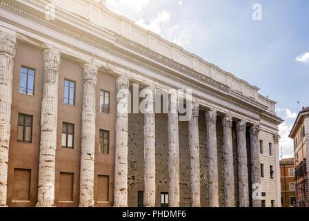 the Temple of Hadrian in Piazza di Pietra in Rome - Stock Photo