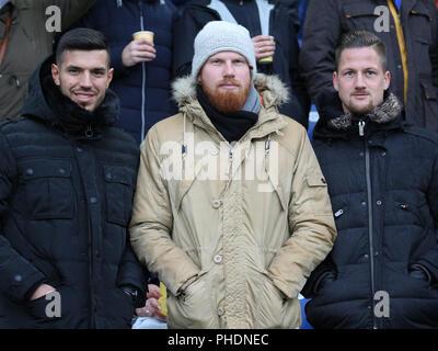 Klaus Gjasula,Fabian Franke and Hendrik Starostzik (all Hallescher FC) - Stock Photo