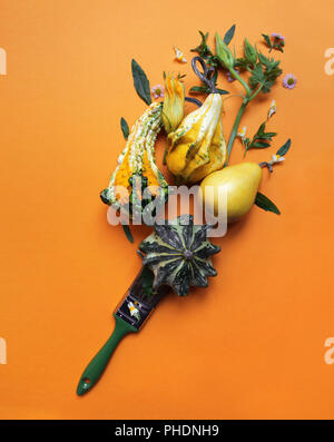creative autumn composition of pumpkins - Stock Photo