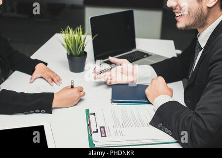 Smiled and happy manager businessman explaining, introducing, talking and interview new candidate. - Stock Photo