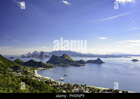 View of Rio de Janeiro skyline from Niteroi - Stock Photo