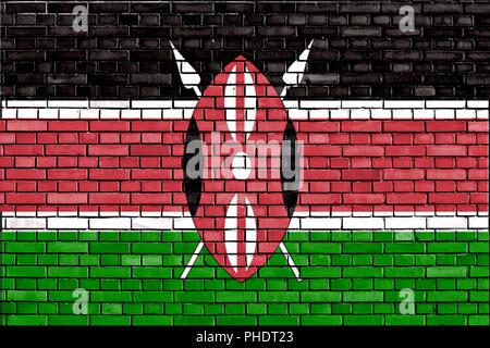 flag of Kenya painted on brick wall - Stock Photo