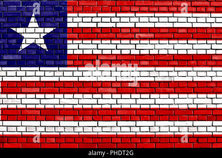 flag of Liberia painted on brick wall - Stock Photo