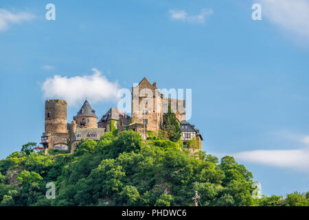 Schonburg Castle at Rhine Valley near Oberwesel, Germany. - Stock Photo