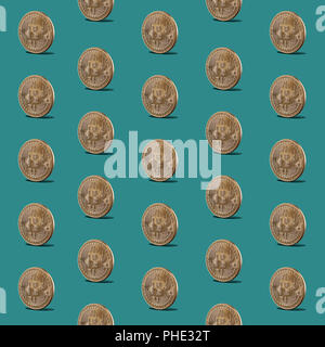 Pattern seamless of gold coins of bitcoins - Stock Photo