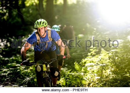 Man mountain biking in forest - Stock Photo