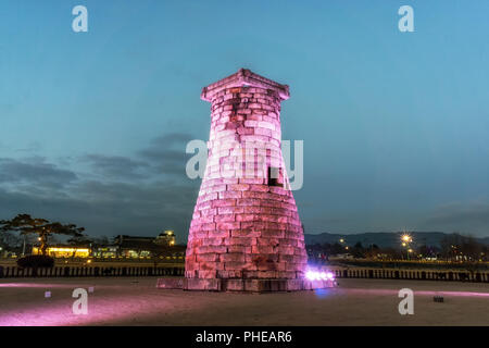 cheomseongdae observatory at night - Stock Photo