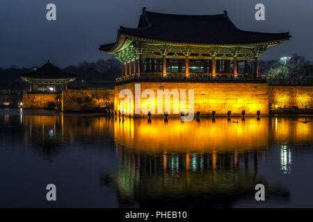 donggung palace and wolji pond in gyeongju - Stock Photo