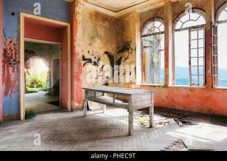 Spooky interior of abandoned ruined house